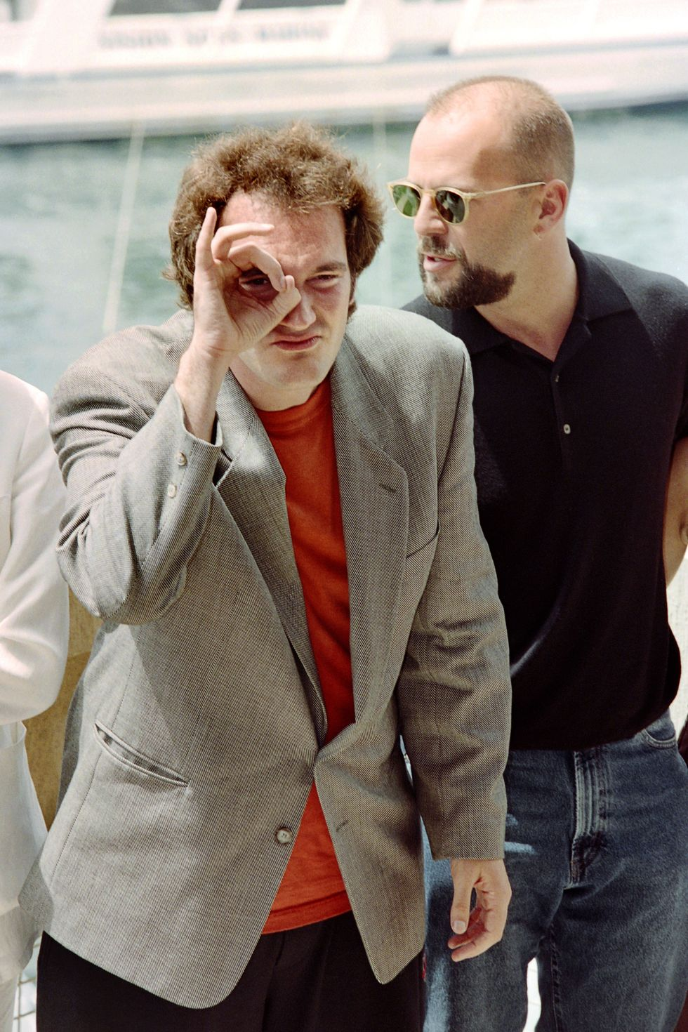 Pulp Fiction (1994) Tarantino and Bruce Willis arrive in Cannes for the premiere of Pulp Fiction. The name of the film refers to pulp magazines and crime novels that were popular during the mid-20th century.