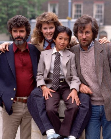 """film director steven spielberg and cast promote """"indiana jones and the temple of doom"""""""
