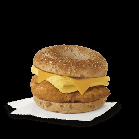 unique breakfast menu  chicken, egg, and cheese breakfast sandwich
