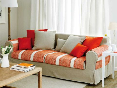 Furniture, Couch, Orange, Living room, Room, Interior design, Red, Curtain, Sofa bed, studio couch,