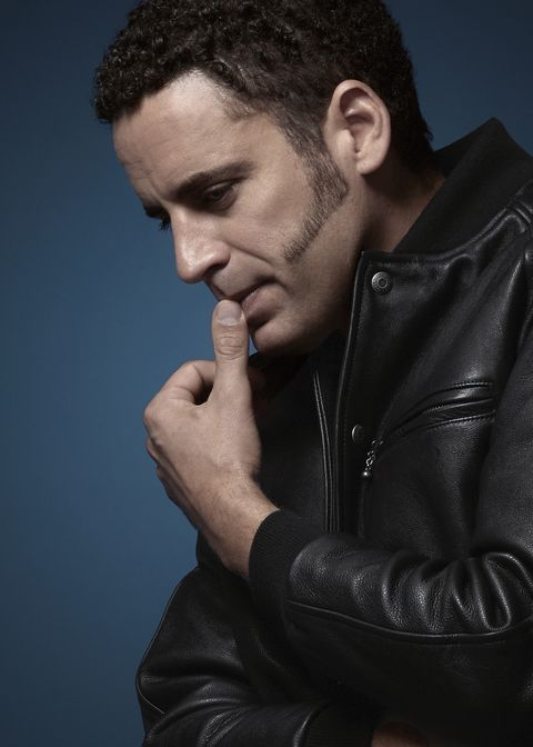 Leather, Jacket, Leather jacket, Cheek, Nose, Chin, Beauty, Textile, Model, Forehead,