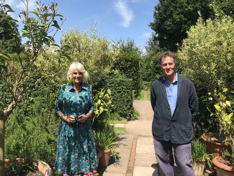 the duchess of cornwall in herefordshire with bbc gardeners' world presenter monty don