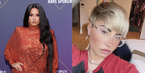 demi lovato side by side photos, the left of her with long hair at the people's choice awards, the right of her with a short blonde pixie taking a selfie