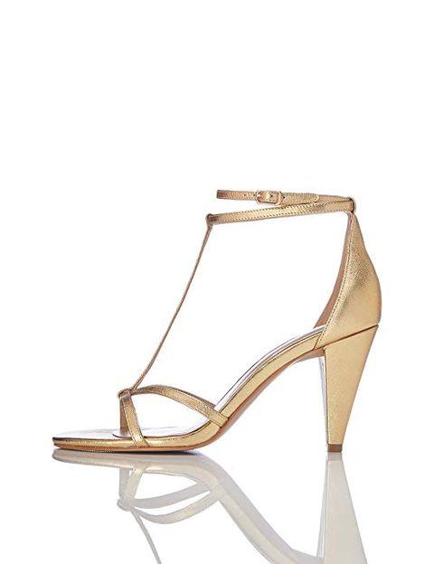 Footwear, Sandal, Shoe, High heels, Beige, Slingback, Strap, Court shoe,