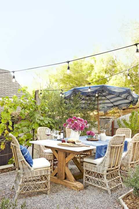 Image result for colorful backyard decorating ideas white table