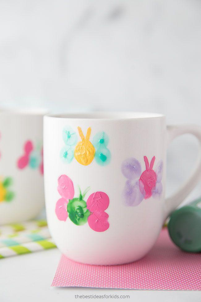 Fingerprint Butterfly Mug - DIY Mother's Day Gifts