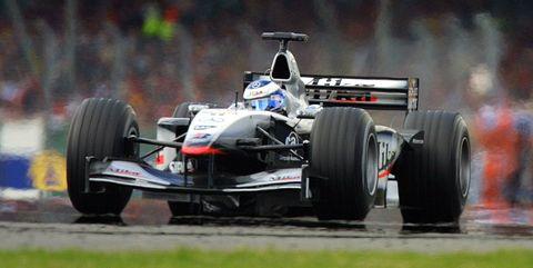 Finnish McLaren-Mercedes driver Mika Hakkinen stee