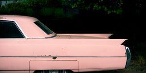 Fins of pink classic car