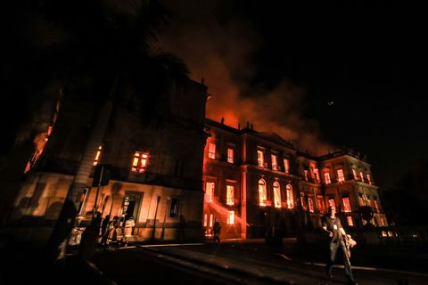 Fire Blazes At Iconic National Museum of Brazil