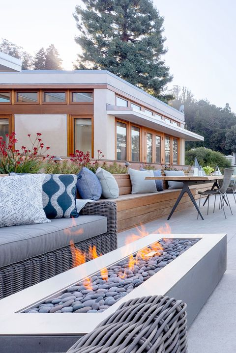 rooftop terrace with fire pit