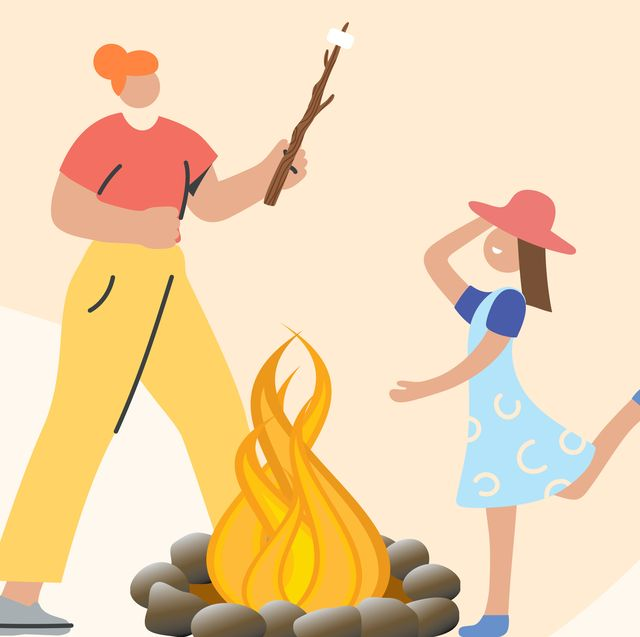 illustration of two people with a fire pit
