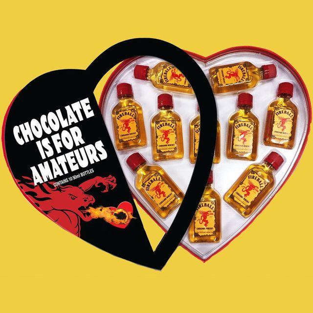fireball cinnamon whisky heart shaped anti valentine's day box