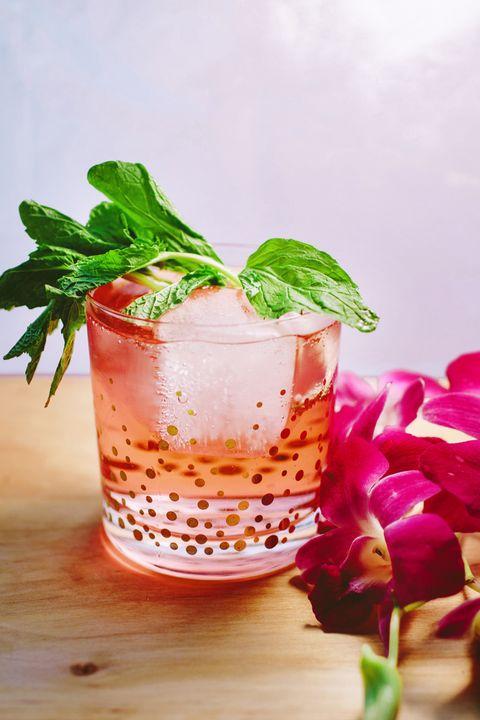 Drink, Food, Cocktail garnish, Basil, Ingredient, Non-alcoholic beverage, Mai tai, Plant, Cocktail, Herb,