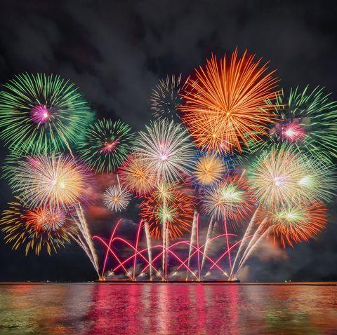 Firework Display By Sea At Night