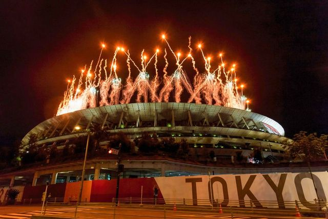 fireworks light up the sky during the olympic opening