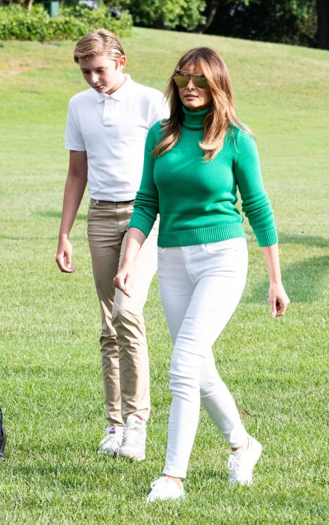 First Lady Melania Trump, and Barron Trump seen returning to...