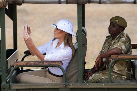 1921d6efa8a25 Melania Trump Pith Hat in Africa - Melania Trump Wears a ...