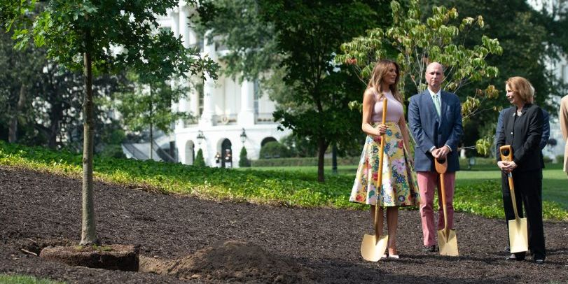 23231099 Melania Trump Planted a Tree with a Golden Shovel, Wearing a $4,000 Dress  and Louboutins