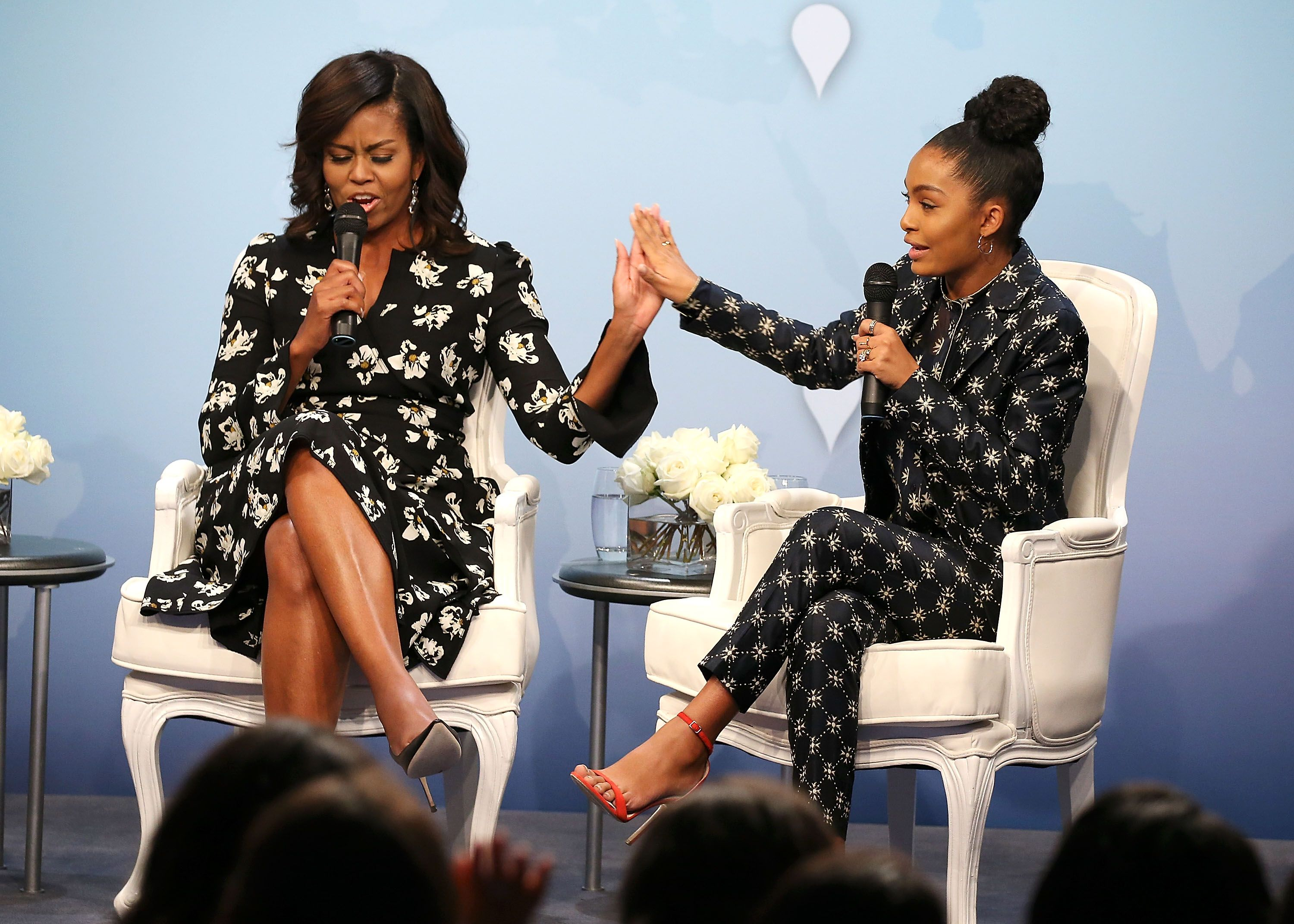 Yara Shahidi and former first lady Michelle Obama in 2016. Obama wrote a college recommendation letter for Shahidi, who is now studying anthropology, history, and economics at Harvard.