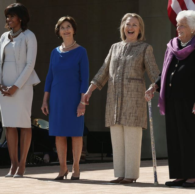 dallas, tx   april 25  l r first lady michelle obama, former first lady laura bush, former first lady hillary clinton, former first lady barbara bush and former first lady rosalynn carter attend the opening ceremony of the george w bush presidential center april 25, 2013 in dallas, texas the bush library, which is located on the campus of southern methodist university, with more than 70 million pages of paper records, 43,000 artifacts, 200 million emails and four million digital photographs, will be opened to the public on may 1, 2013 the library is the 13th presidential library in the national archives and records administration system  photo by alex wonggetty images