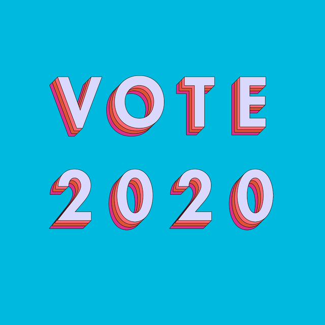 a blue background with the words vote 2020 in pink and red