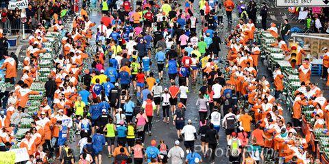Water stop at the 2013 New York City Marathon