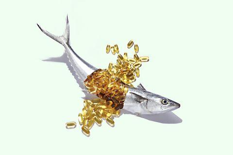 Fish Oil Bursting From a Whole Fresh Mackerel.