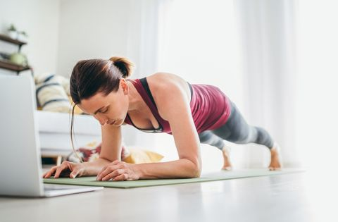 fit sporty healthy woman on mat in low plank chaturanga dandasana yoga pose, doing breathing exercises, watching online yoga class on laptop computer healthy people and self motivation concept