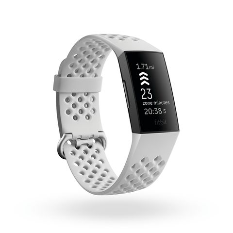 product render of fitbit charge 4, 3qtr view, in frost white sport and black