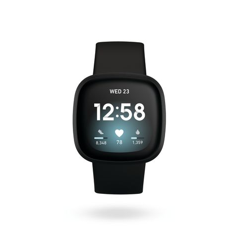 Fitbit Versa 3 product render, front view, in black and black aluminum