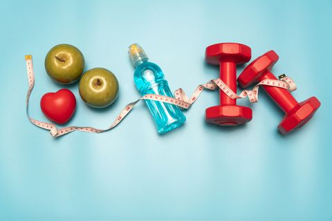 fitness equipment healthy food water,apple