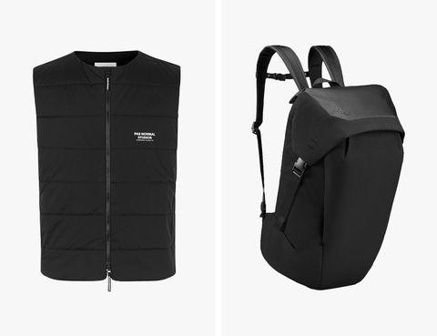 le mec vest and backpack