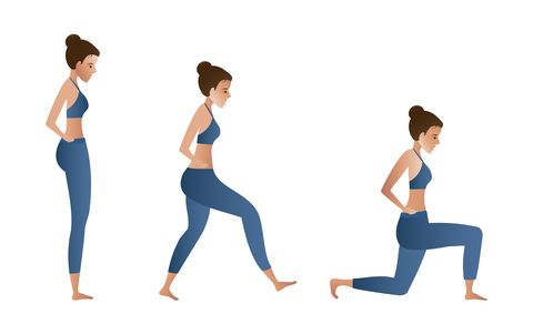 fitness girl doing lunges vector