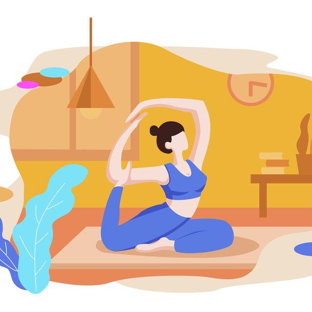 fitness  indoor   yoga  vector illustration