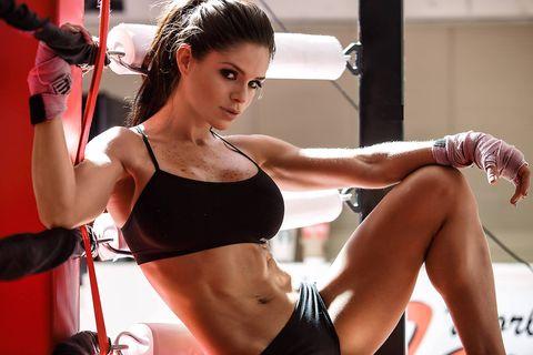 Physical fitness, Undergarment, Muscle, Beauty, Fitness professional, Shoulder, Arm, Abdomen, Leg, Human leg,