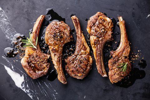 five roaster lamb ribs with herbs