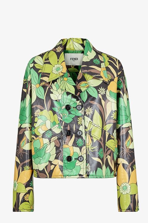 fendi green yellow floral cotton jacket