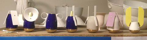 Perfumer Francis Kurkdjian's porcelain objects at home.