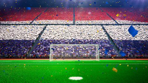 stadion met rood wit blauw