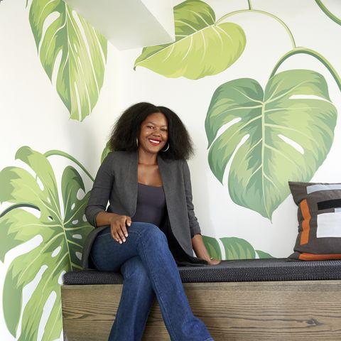 Green, Leaf, Botany, Sitting, Plant, Furniture, Tree, Jeans, Arecales, Floor,