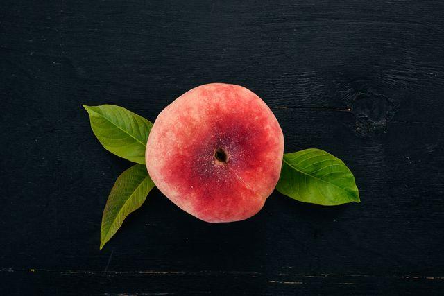 peach on a black background