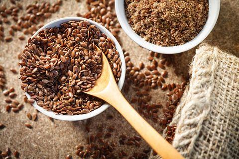 flax seed in a jute bag