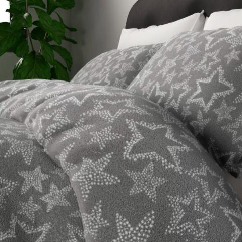 fleece star print bedding set