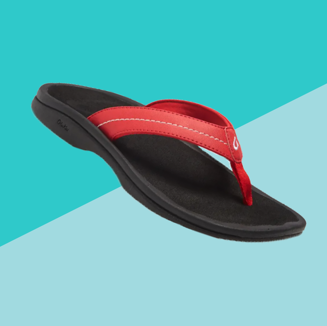 flip flop with arch support on blue background