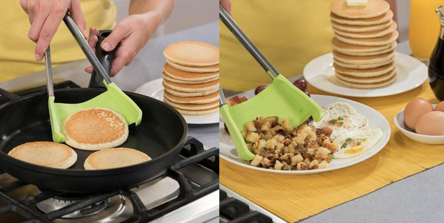 flip turn  grab spatula with pancake and breakfast plate