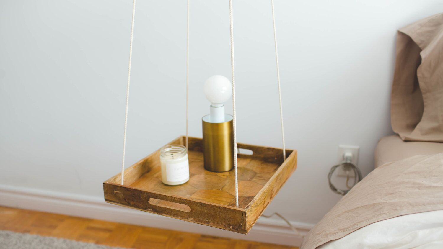 floating nightstands hanging tray