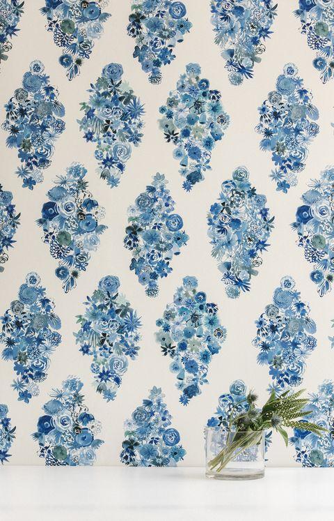 Blue, Pattern, Botany, Wrapping paper, Design, Textile, Pedicel, Plant,
