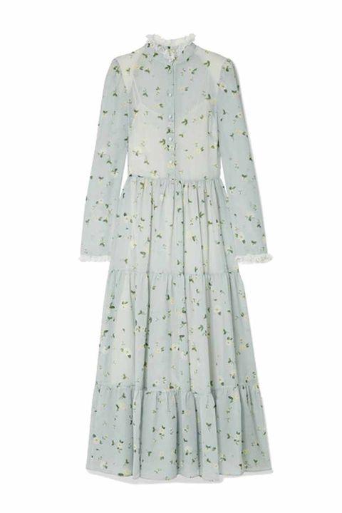 Lace-trimmed floral-print chiffon midi dressPHILOSOPHY DI LORENZO SERAFINI