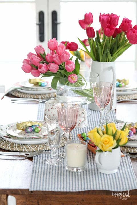 easter table setting with flowers and candies