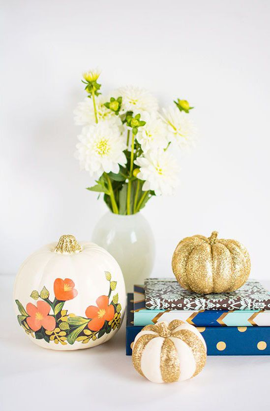 glitter pumpkins floral
